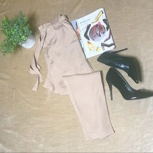 Paper Bag Cuffed Ankle Pants